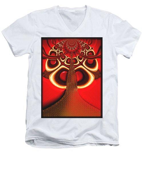 Big Tree From The Red Forest Men's V-Neck T-Shirt by Wendy J St Christopher