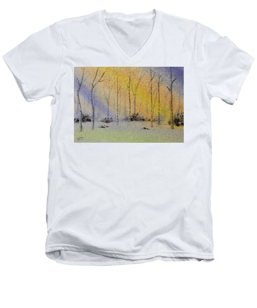 Men's V-Neck T-Shirt featuring the painting Birch In Blue by Richard Faulkner