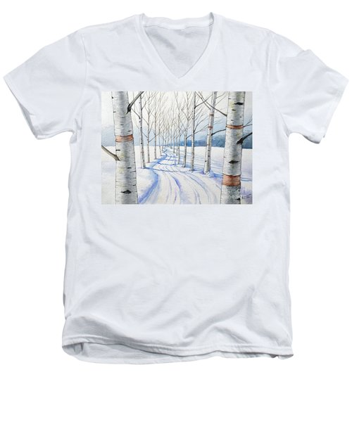 Men's V-Neck T-Shirt featuring the painting Birch Trees Along The Curvy Road by Christopher Shellhammer