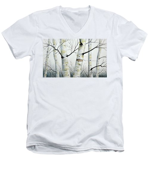 Men's V-Neck T-Shirt featuring the painting Birch Trees In The Forest In Watercolor by Christopher Shellhammer