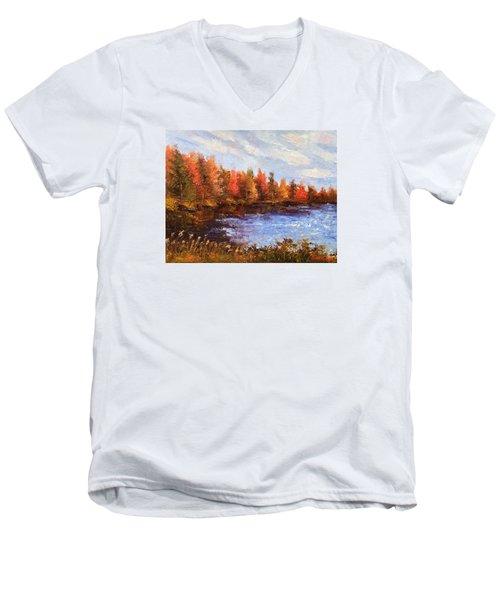 Men's V-Neck T-Shirt featuring the painting Birchwood Lake by Jason Williamson