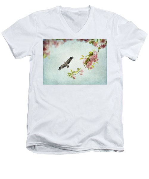 Bird And Pink And Green Flowering Branch On Blue Men's V-Neck T-Shirt by Brooke T Ryan