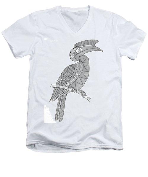 Bird Hornbill Men's V-Neck T-Shirt by Neeti Goswami