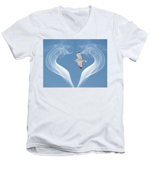 Men's V-Neck T-Shirt featuring the photograph Bird In Flight by Athala Carole Bruckner