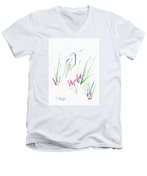 Men's V-Neck T-Shirt featuring the digital art Bird In The Grass by Frank Bright