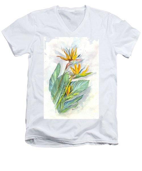 Bird Of Paradise Men's V-Neck T-Shirt by Carol Wisniewski
