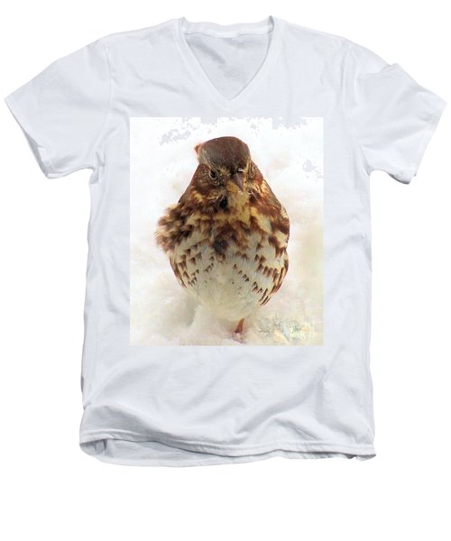 Men's V-Neck T-Shirt featuring the photograph Fox Sparrow In Snow by Janette Boyd