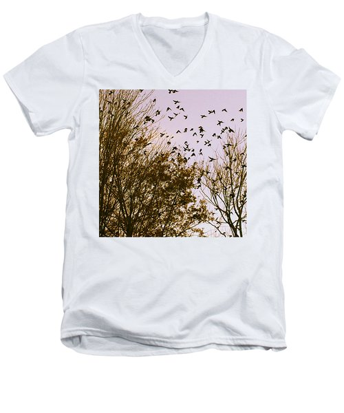 Men's V-Neck T-Shirt featuring the photograph Birds Of A Feather Flock Together by Thomasina Durkay