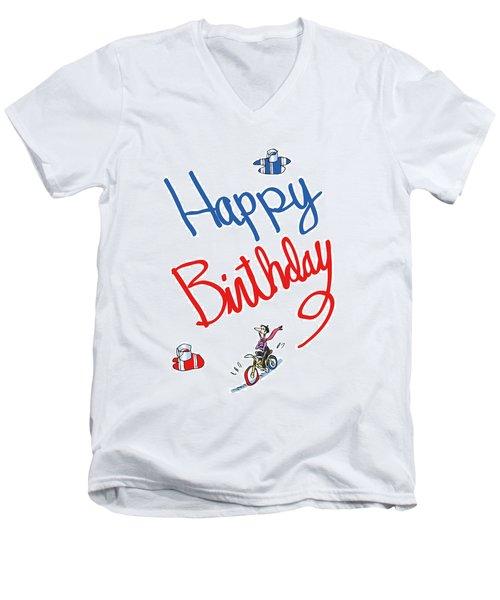 Birthday Bicycle Painter Men's V-Neck T-Shirt