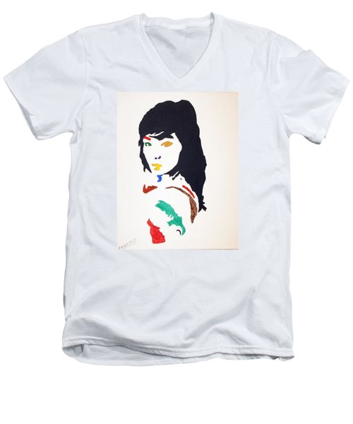 Men's V-Neck T-Shirt featuring the painting Bjork by Stormm Bradshaw