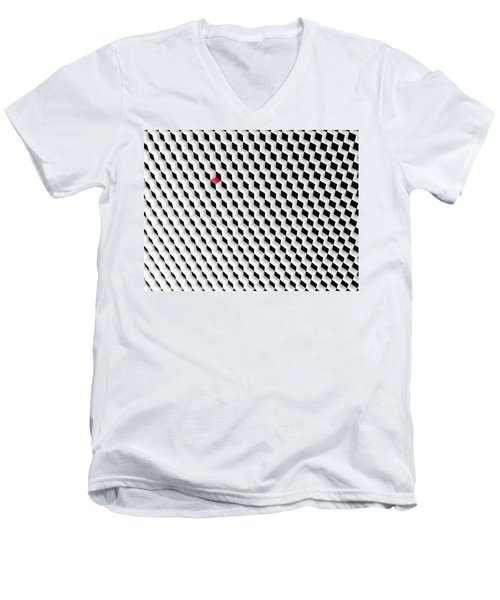 Black And White Cubes With One Red Cube. Men's V-Neck T-Shirt