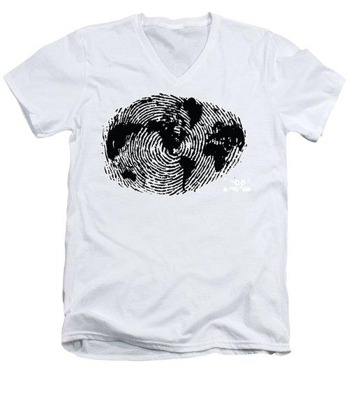 black and white ink print poster One of a Kind Global Fingerprint Men's V-Neck T-Shirt by Sassan Filsoof