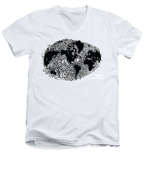 black and white ink print poster One of a Kind Global Fingerprint Men's V-Neck T-Shirt