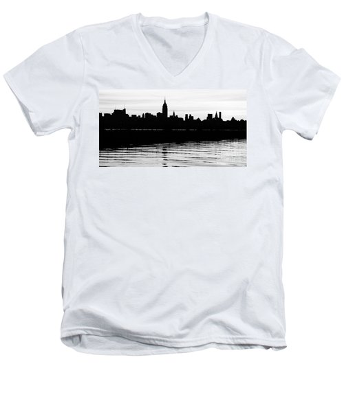 Men's V-Neck T-Shirt featuring the photograph Black And White Nyc Morning Reflections by Lilliana Mendez