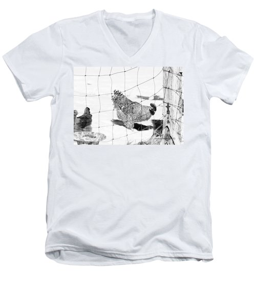 Black And White Rooster Men's V-Neck T-Shirt by Denise Romano