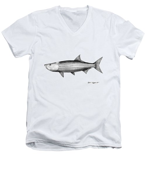 Black And White Tarpon Men's V-Neck T-Shirt by Steve Ozment