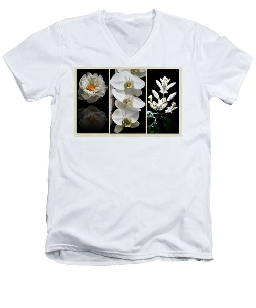 Black And White Triptych Men's V-Neck T-Shirt by Judy Vincent