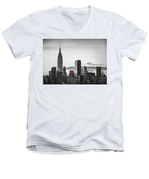 Black And White Version Of The New York City Skyline With Empire Men's V-Neck T-Shirt by Eduard Moldoveanu