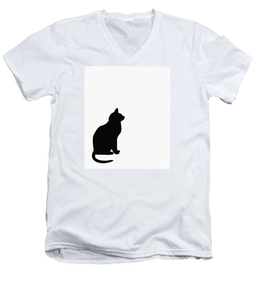 Black Cat Silhouette On A White Background Men's V-Neck T-Shirt by Barbara Griffin