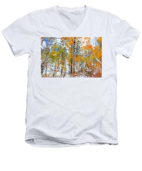 Black Hills Veil  Men's V-Neck T-Shirt by Clarice  Lakota