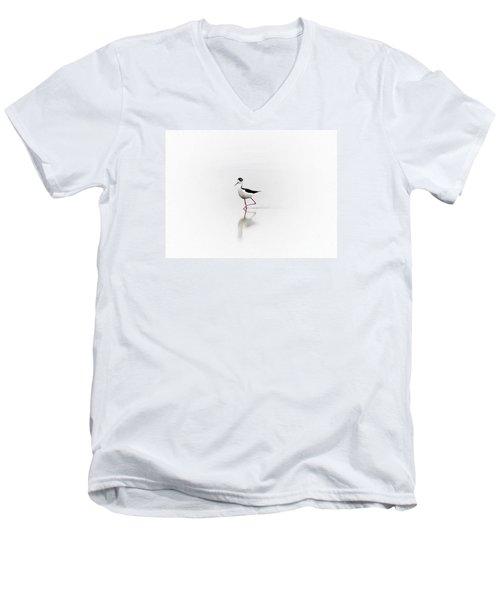Black Necked Stilt Men's V-Neck T-Shirt by John  Kolenberg