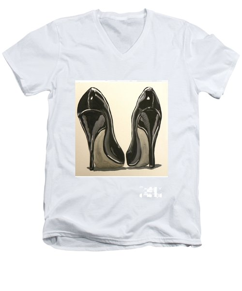 Men's V-Neck T-Shirt featuring the painting Black Pumps by Marisela Mungia
