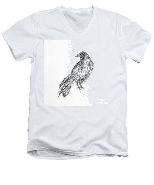 Men's V-Neck T-Shirt featuring the drawing Blackbird  by Nicole Gaitan
