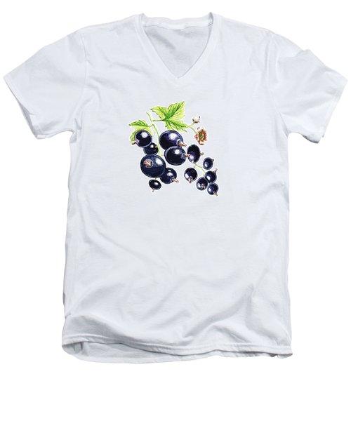Blackcurrant Berries  Men's V-Neck T-Shirt by Irina Sztukowski