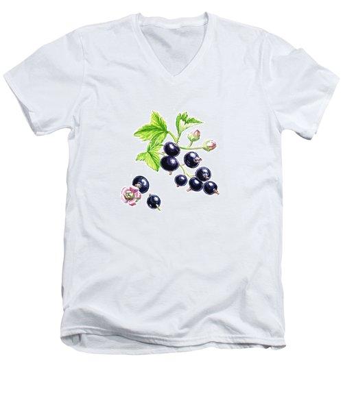 Blackcurrant Botanical Study Men's V-Neck T-Shirt by Irina Sztukowski