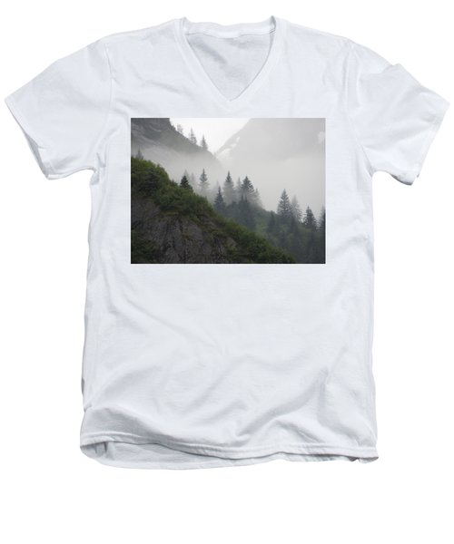Men's V-Neck T-Shirt featuring the photograph Blanket Of Fog by Jennifer Wheatley Wolf