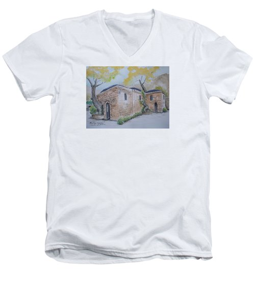 Men's V-Neck T-Shirt featuring the painting Blessed Mother's Home by Marilyn Zalatan