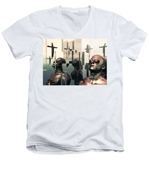 Men's V-Neck T-Shirt featuring the digital art Blind Reflections by John Alexander