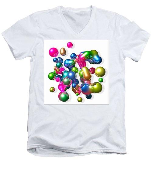 Men's V-Neck T-Shirt featuring the digital art Blobs Of Fun... by Tim Fillingim