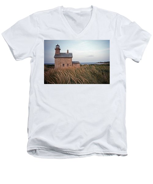 Block Island North West Lighthouse Men's V-Neck T-Shirt by Skip Willits