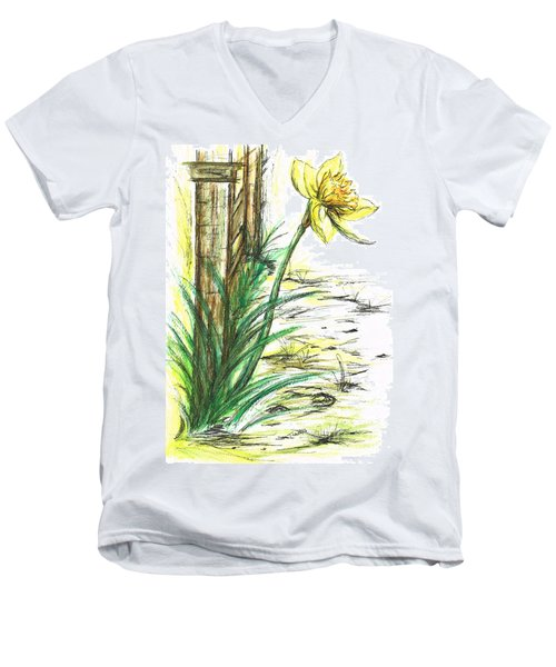 Blooming Daffodil Men's V-Neck T-Shirt by Teresa White