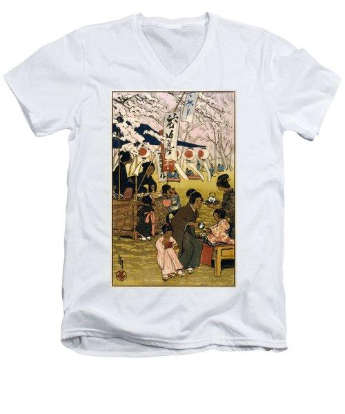 Blossom Time In Tokyo Men's V-Neck T-Shirt