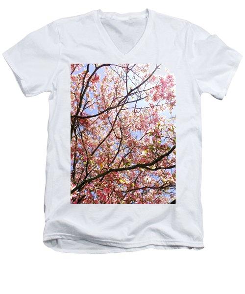 Blossoming Pink Men's V-Neck T-Shirt