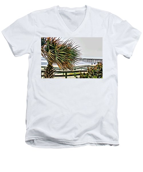 Men's V-Neck T-Shirt featuring the photograph Blowin At The Beach by Alice Gipson
