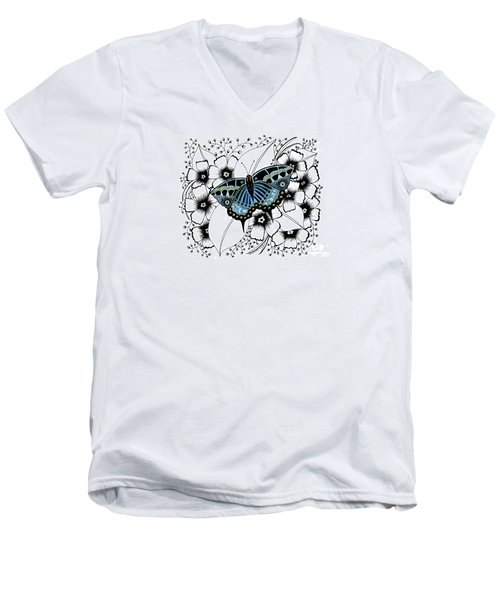 Blue Butterfly Men's V-Neck T-Shirt by Billinda Brandli DeVillez