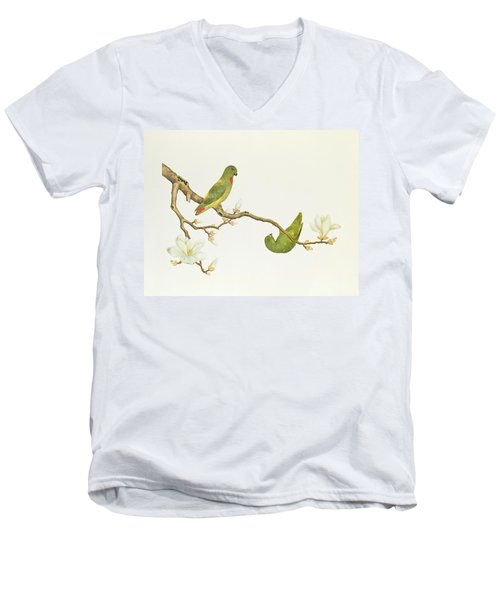 Blue Crowned Parakeet Hannging On A Magnolia Branch Men's V-Neck T-Shirt by Chinese School