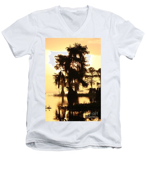 Men's V-Neck T-Shirt featuring the photograph Blue Cypress Yellow Light by Paul Rebmann