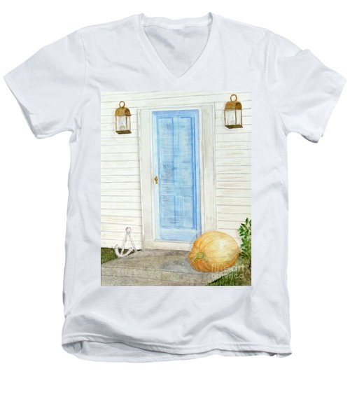 Blue Door With Pumpkin Men's V-Neck T-Shirt