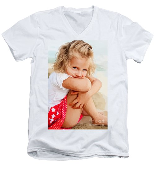 Men's V-Neck T-Shirt featuring the painting Blue Eyed Girl by Tim Gilliland