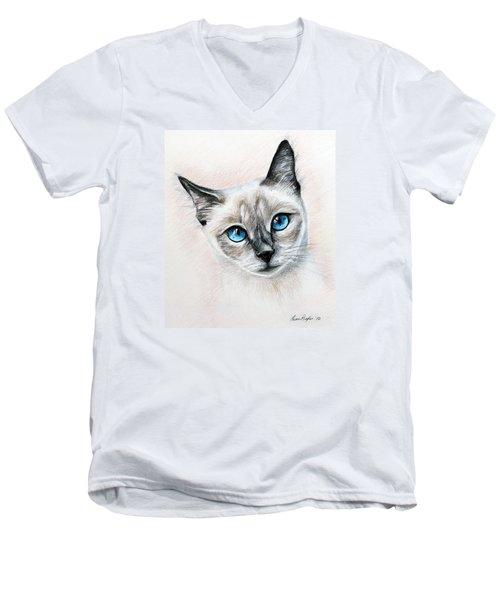 Blue Eyes Men's V-Neck T-Shirt by Lena Auxier