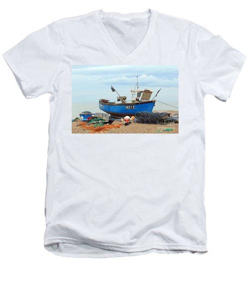 Blue Fishing Boat Men's V-Neck T-Shirt