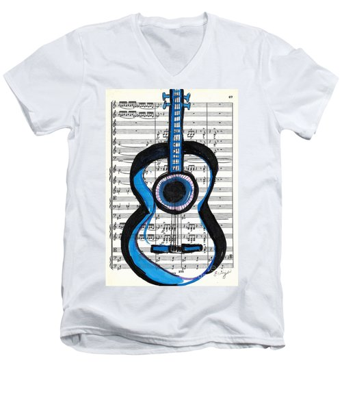 Men's V-Neck T-Shirt featuring the drawing Blue Guitar Music by Ecinja Art Works