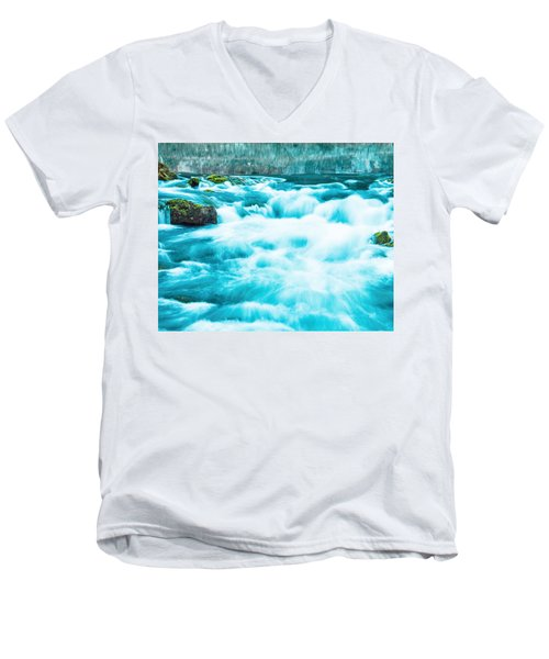 Men's V-Neck T-Shirt featuring the photograph Blue Lagoon by Steven Bateson