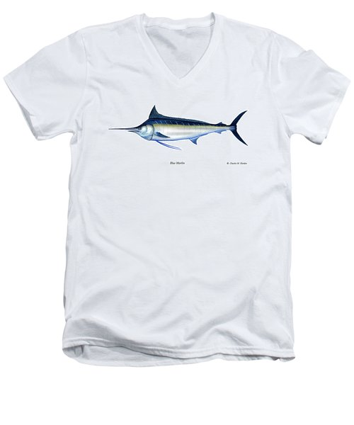 Blue Marlin Men's V-Neck T-Shirt by Charles Harden