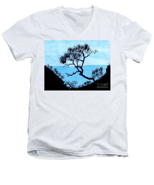 Men's V-Neck T-Shirt featuring the drawing Blue Mountain by D Hackett