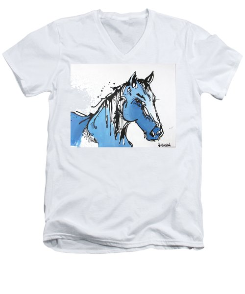 Men's V-Neck T-Shirt featuring the painting Blue by Nicole Gaitan